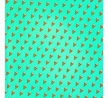 Cool and Trendy Pizza Pattern in Super Acid green / turquoise / blue Photographic Print