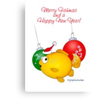 Christmas Goldfish cartoon Merry Fishmas Canvas Print