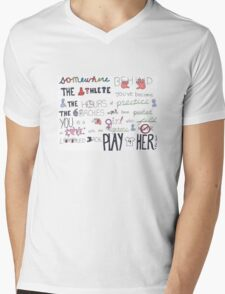 Mia Hamm Quote Art Mens V-Neck T-Shirt
