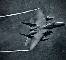 F15 black and white HDR Lowe flying Wales by Andrew Chittock