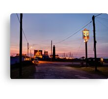 Cross-over light, Dungeness with pub Canvas Print