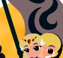 Link and Zelda at Sea - Night Sticker