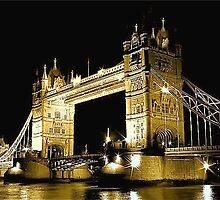 TOWER BRIDGE LONDON / GOLD by Scott  d'Almeida