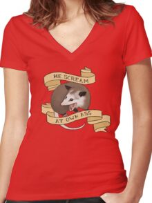 He Scream at Own Ass Women's Fitted V-Neck T-Shirt
