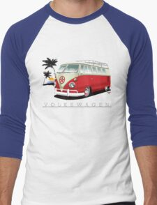 Red & White 11 Window Men's Baseball ¾ T-Shirt