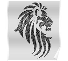 Lion Tribal Tattoo Style Distressed Design  Poster
