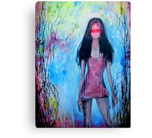 Girl In Rose Colored Dress Canvas Print