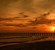Sunset Over the Pier by Sandy Keeton