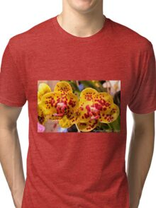 #296          Yellow & Red Spotted Orchid Tri-blend T-Shirt