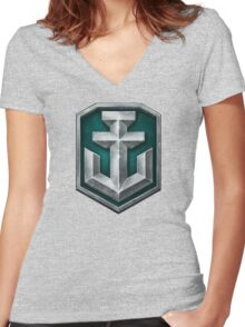 World of Warships Logo Women's Fitted V-Neck T-Shirt