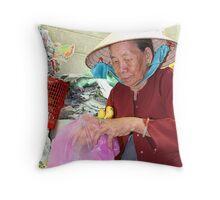 Cholon banana lady Throw Pillow