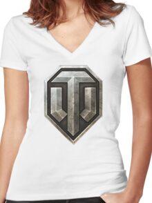 World of Tanks Logo Women's Fitted V-Neck T-Shirt
