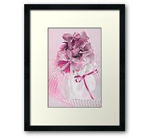 Pink Pansies In Ribboned Pot Framed Print