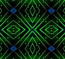 Patterns and shapes Blue and Green by Sarah Niebank