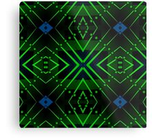 Patterns and shapes Blue and Green Metal Print