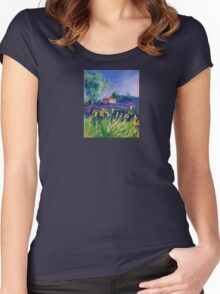 Lavender Field With Yellow Flowers painting Women's Fitted Scoop T-Shirt