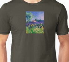 Lavender Field With Yellow Flowers painting Unisex T-Shirt