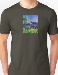 Lavender Field With Yellow Flowers painting T-Shirt