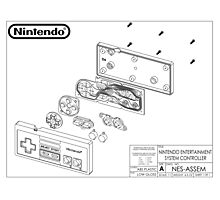 Exploded NES Controller Schematic Photographic Print