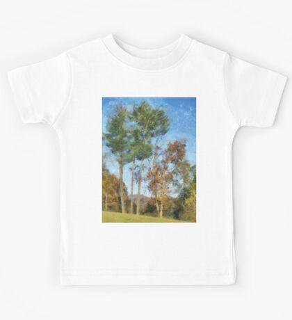 Tall Trees Against A Blue Sky Kids Tee