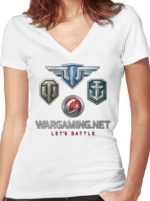 Wargaming MMO Logos Women's Fitted V-Neck T-Shirt