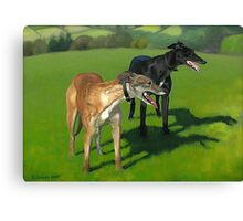 Greyhound Portrait - Oil on Canvas Canvas Print