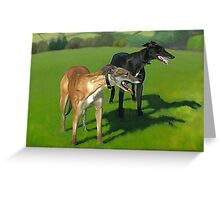 Greyhound Portrait - Oil on Canvas Greeting Card