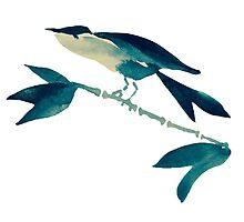 Sumi-e Bird on Branch Detail by Kiwi-Fur