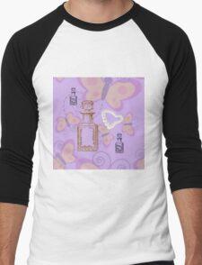 Butterflies, Apothecary Jars & Pearl Heart Men's Baseball ¾ T-Shirt