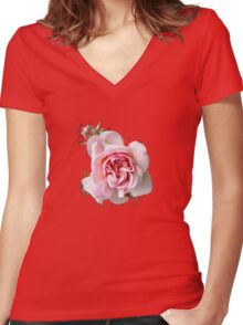 Pink Rose T SHIRT Women's Fitted V-Neck T-Shirt