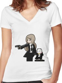 PuppyCat Fiction Women's Fitted V-Neck T-Shirt
