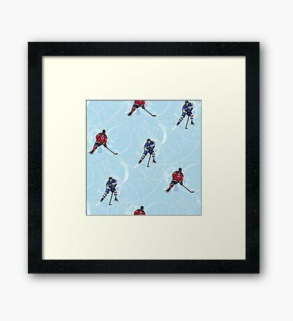 Ice hockey pattern Framed Print