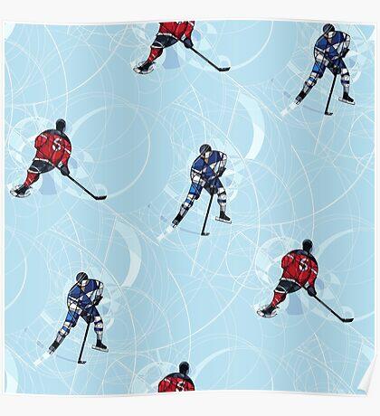 Ice hockey pattern Poster