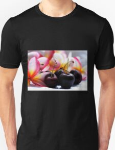 Cherries & Pink Frangipanies - Still Life T-Shirt