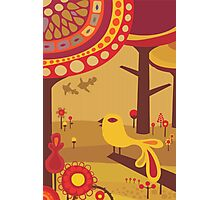 Retro Bird with Trees Photographic Print