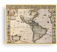 Americas Map 1626 Canvas Print