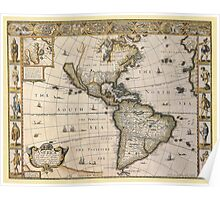 Americas Map 1626 Poster