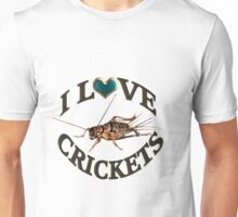 I LOVE CRICKETS PICTURE-PILLOW-TOTE BAG- DRAWSTRING BAGS,CARDS,BOOKS,TEE SHIRTS ECT, Unisex T-Shirt