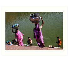 Washing Day, Sari Clad Women, South India Art Print