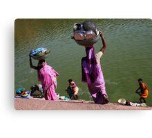 Washing Day, Sari Clad Women, South India Canvas Print
