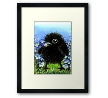Baby raven among forget-me-nots Framed Print
