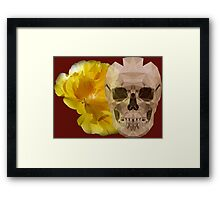 Yellow hibiscus and skull, nice couple Framed Print
