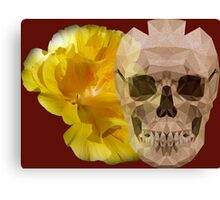 Yellow hibiscus and skull, nice couple Canvas Print