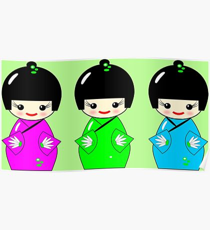 Cute Kokeshi dolls on green Poster