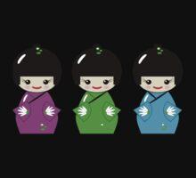 Cute Kokeshi dolls on green Baby Tee