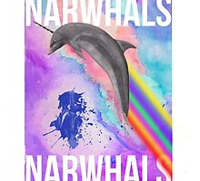 NARWHALS  RAINBOWS by Jackson Bourke