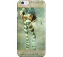 Lovely Girl with Striped Socks iPhone Case/Skin