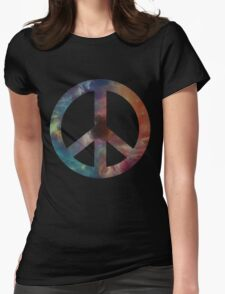 Space Peace Sign Womens Fitted T-Shirt