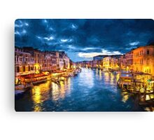 Grand Canal Illuminated Canvas Print
