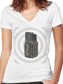 Dirty Old Camera I Women's Fitted V-Neck T-Shirt